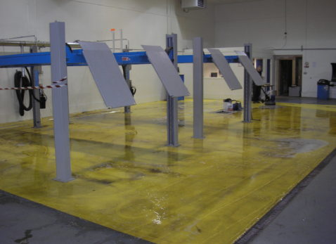 workshop floors will invariably collect grease & oil
