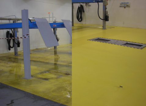acrydur floor in workshop before cleaning